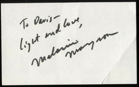 Melanie Mayron Signed Index Card Signature Vintage Autographed AUTO