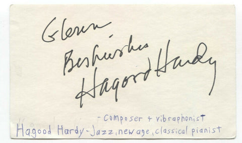 Hagood Hardy Signed 3x5 Index Card Autographed Signature Composer Musician