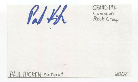 Grand:PM - Paul Hicken Signed 3x5 Index Card Autographed Signature Band