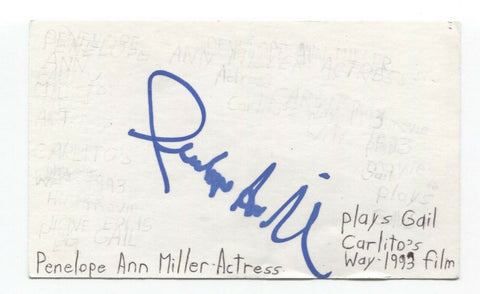 Penelope Ann Miller Signed 3x5 Index Card Autographed Signature Actress