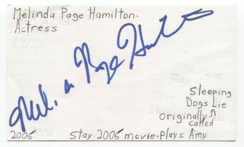 Melinda Page Hamilton Signed 3x5 Index Card Autographed Signature Actress