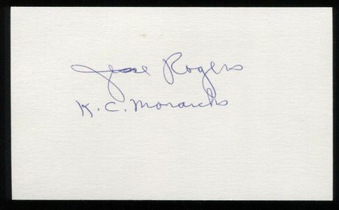 Jesse Rogers Signed Index Card 3x5 NEGRO LEAGUE Autographed Monarchs Auto