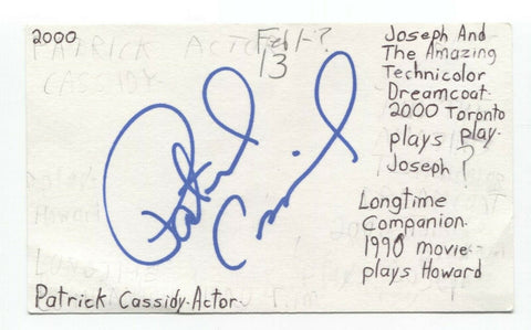 Patrick Cassidy Signed 3x5 Index Card Autographed Signature Actor