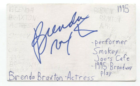 Brenda Braxton Signed 3x5 Index Card Autographed Signature Actress