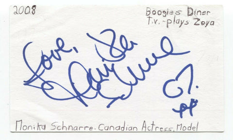 Monika Schnarre Signed 3x5 Index Card Autographed Signature Actress 90210
