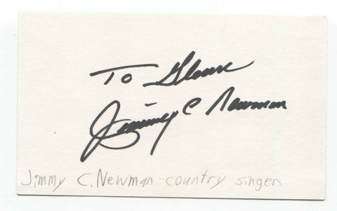 Jimmy C. Newman Signed 3x5 Index Card Autographed Signature Country Singer