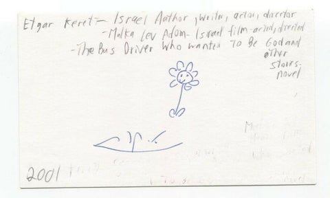 Etgar Keret Signed 3x5 Index Card Autographed Signature Author Filmmaker Writer