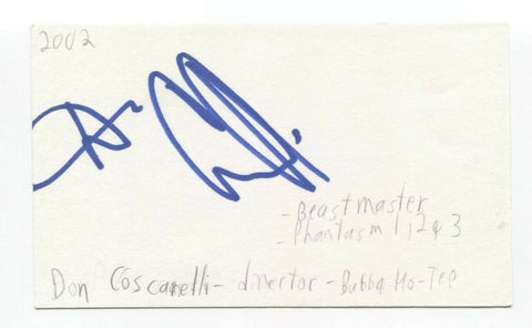 Don Coscarelli Signed 3x5 Index Card Autographed Signature Director Bubba Ho-Tep