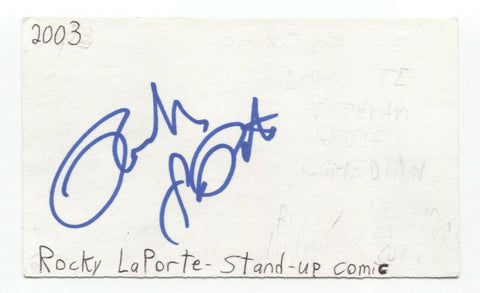 Rocky LaPorte Signed 3x5 Index Card Autographed Signature Actor Comedian