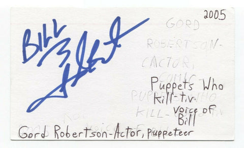 Gord Robertson Signed 3x5 Index Card Autographed Signature Actor Fraggle Rock