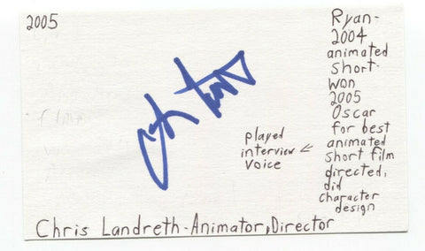 Chris Landreth Signed 3x5 Index Card Autograph Signature Animator Director