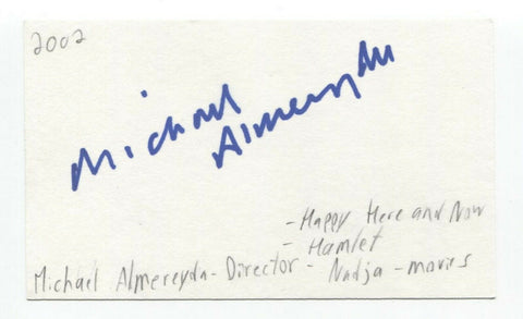 Michael Almereyda Signed 3x5 Index Card Autographed Signature Director Hamlet