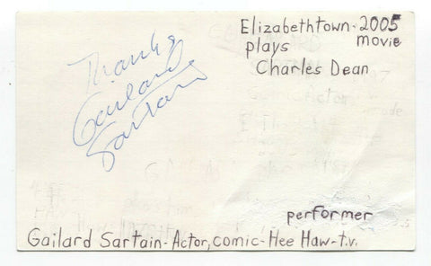 Gailard Sartain Signed 3x5 Index Card Autograph Signature Actor