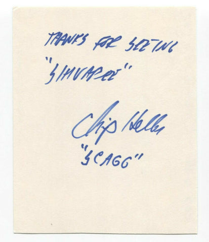 Chip Heller Signed 4x5 Index Card Autographed Signature Star Trek TNG