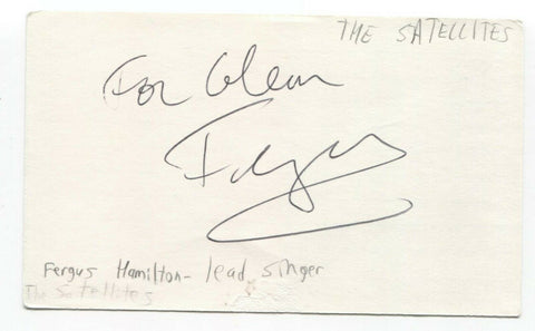The Sattalites - Fergus Hamilton Signed 3x5 Index Card Autographed Signature