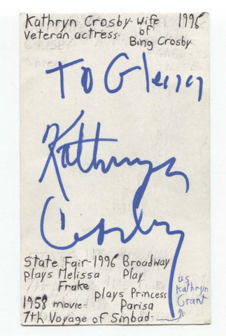 Kathryn Crosby Signed 3x5 Index Card Autographed Actress Signature