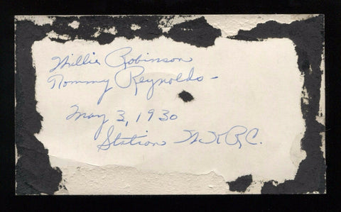 Tommy Reynolds - Willie Robinson - Signed Photo From 1930 Autographed WKRC Radio