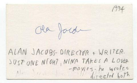 Alan Jacobs Signed 3x5 Index Card Autographed Signature Filmmaker Director