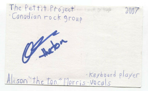 "Love You To Death - Alison ""The Ton"" Morris Signed 3x5 Index Card Autographed"