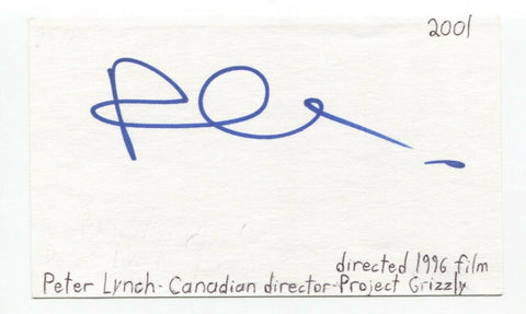 Peter Lynch Signed 3x5 Index Card Autographed Director Project Grizzly
