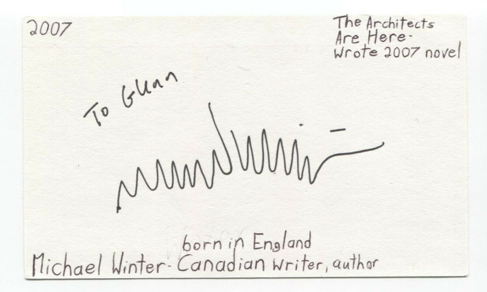 Michael Winter Signed 3x5 Index Card Autographed Signature Author Writer
