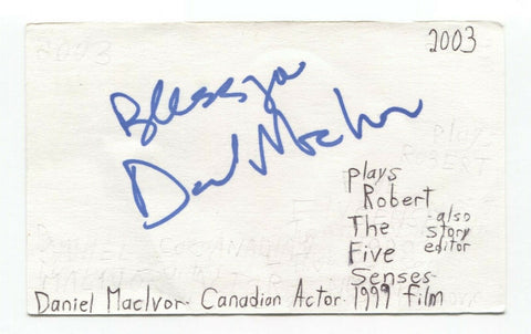 Daniel MacIvor Signed 3x5 Index Card Autographed Signature Actor Director
