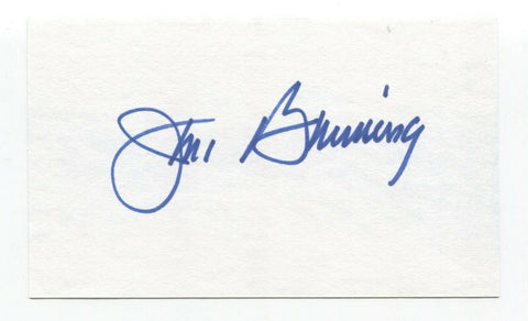 Jim Bunning Signed 3x5 Index Card Baseball Hall of Fame Autographed HOF