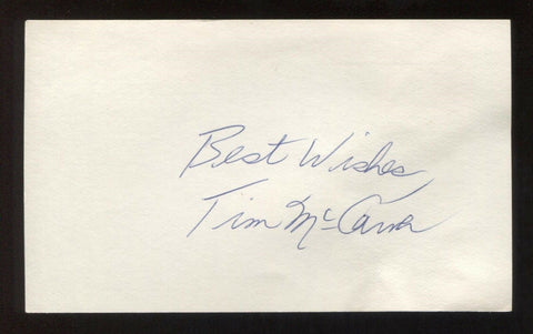 Tim McCarver Signed 3x5 Index Card Vintage Autographed Baseball Signature HOF