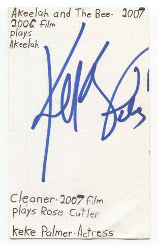 Keke Palmer Signed 3x5 Index Card Autographed Signature Akeelah and the Bee