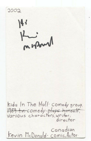 Kevin McDonald Signed 3x5 Index Card Autograph Signature Actor Comedian