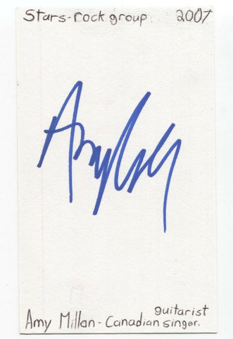 Stars - Amy Millan Signed 3x5 Index Card Autographed Signature Band Singer