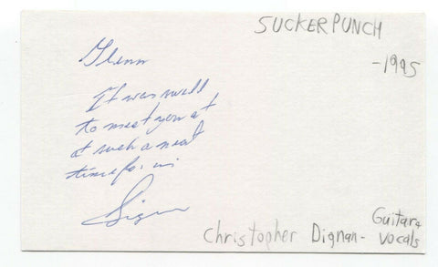 Suckerpunch - Christopher Dignan Signed 3x5 Index Card Autographed Signature