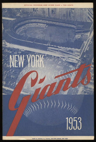 1953 New York Giants vs Phillies Program Scorecard July 7, 1953  1st Game