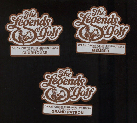 1978 Legends of Golf Tournament Badges Pins - Grand Patrol, Clubhouse, Member