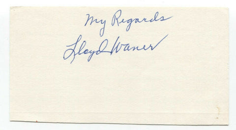 Lloyd Waner Signed 3x5 Index Card Autographed Baseball Hall of Fame HOF