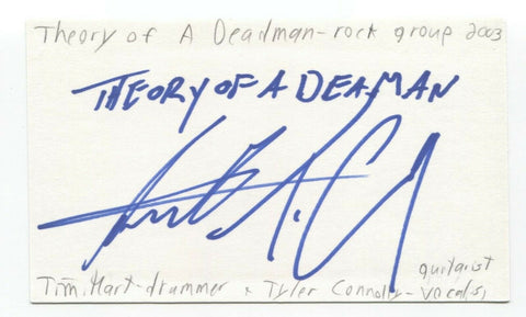 Theory of a Deadman - Tim Hart Signed 3x5 Index Card Autographed Signature
