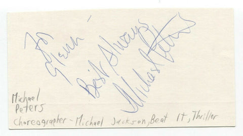 Michael Peters Signed 3x5 Index Card Autographed Choreographer MJ Thriller Video