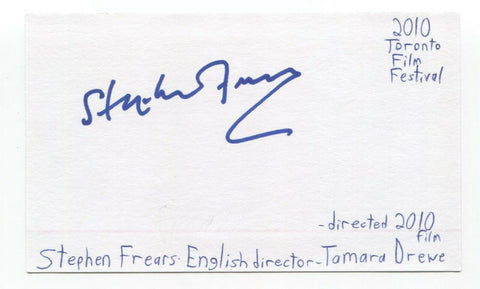 Stephen Frears Signed 3x5 Index Card Autographed Director Queen High Fidelity