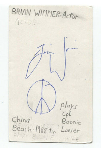 Brian Wimmer Signed 3x5 Index Card Autographed China Beach The Fugitive