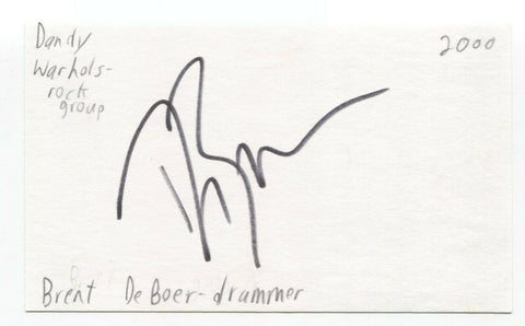The Dandy Warhols - Brent DeBoer Signed 3x5 Index Card Autographed Signature