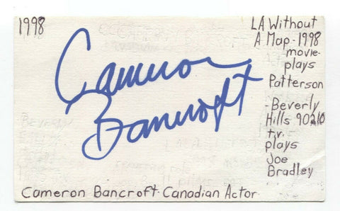 Cameron Bancraft Signed 3x5 Index Card Autographed Signature Actor 90210