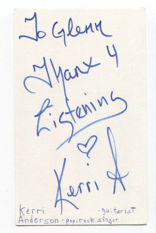 Kerri Anderson Signed 3x5 Index Card Autographed Signature Singer