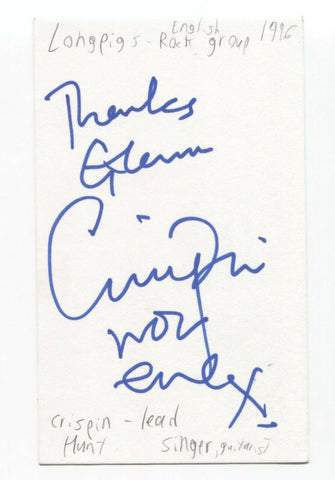 Longpigs - Crispin Hunt Signed 3x5 Index Card Autographed Signature