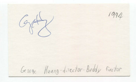 George Huang Signed 3x5 Index Card Autographed Signature Film Director
