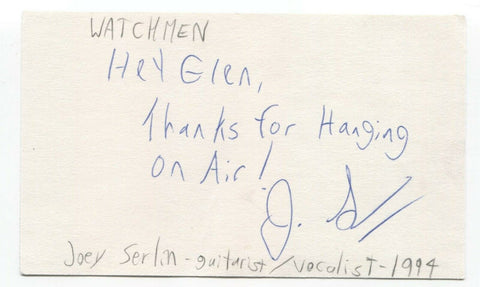 The Watchmen - Joey Serlin Signed 3x5 Index Card Autographed Signature Band