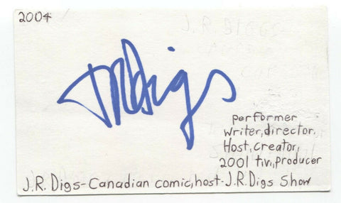 J.R. Digs Signed 3x5 Index Card Autographed Signature Actor Host Comedian