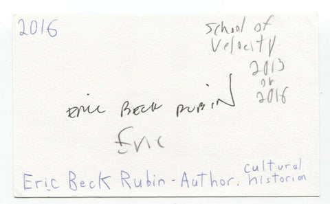 Eric Beck Rubin Signed 3x5 Index Card Autographed Signature Author