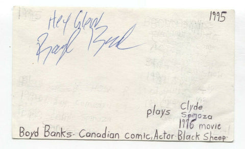 Boyd Banks Signed 3x5 Index Card Autographed Signature Actor Comedian