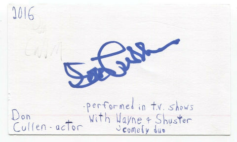Don Cullen Signed 3x5 Index Card Autographed Signature Actor