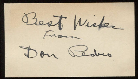 Don Pedro Signed Card from 1932  Autographed Music  Vintage Signature AUTO